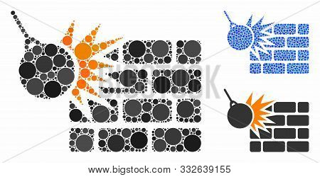 Brick Wall Destruction Composition Of Round Dots In Different Sizes And Shades, Based On Brick Wall