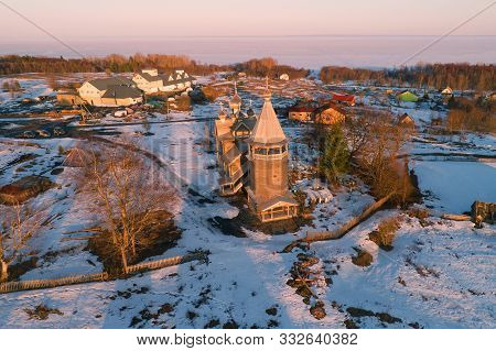 Ancient Church Of Dmitry Solunsky The Myrrh-streaming In The April Evening Landscape (aerial Photogr