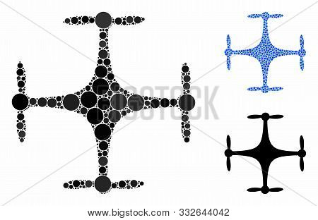 Copter Mosaic Of Circle Elements In Various Sizes And Shades, Based On Copter Icon. Vector Filled Ci