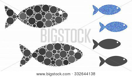 Fish Pair Mosaic Of Spheric Dots In Variable Sizes And Shades, Based On Fish Pair Icon. Vector Round