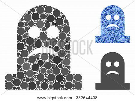 Sad Tomb Mosaic Of Round Dots In Different Sizes And Color Tinges, Based On Sad Tomb Icon. Vector Ro