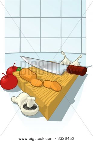 Chopping Board With French Chef Knife And Carrot