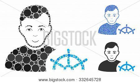 Captain Mosaic Of Spheric Dots In Different Sizes And Color Tones, Based On Captain Icon. Vector Dot