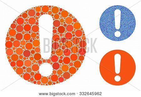 Exclamation Mosaic Of Circle Elements In Various Sizes And Color Tones, Based On Exclamation Icon. V