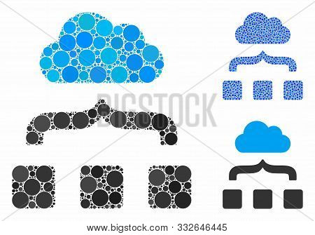Combine Cloud Mosaic Of Small Circles In Different Sizes And Color Hues, Based On Combine Cloud Icon