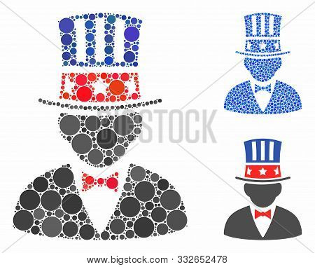 Capitalist Composition Of Round Dots In Various Sizes And Color Tints, Based On Capitalist Icon. Vec