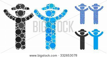 Hands Up Gentlemen Mosaic Of Circle Elements In Different Sizes And Color Tones, Based On Hands Up G