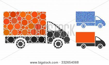 Shipment Car Mosaic Of Filled Circles In Various Sizes And Shades, Based On Shipment Car Icon. Vecto