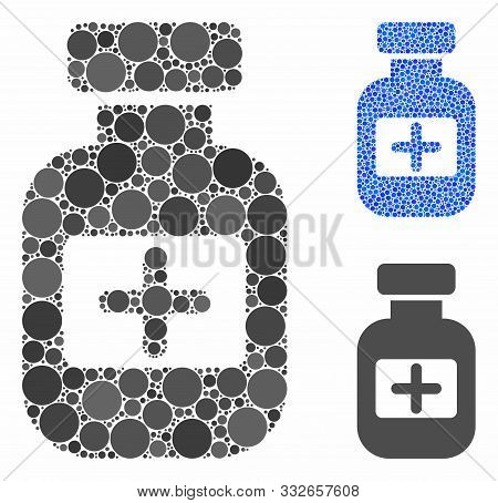 Medication Phial Mosaic Of Round Dots In Different Sizes And Color Tints, Based On Medication Phial