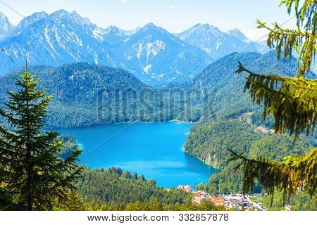 Landscape Of Alpine Mountains, Germany. Beautiful Scenic View Of Nature From Above. Nice Landscape W