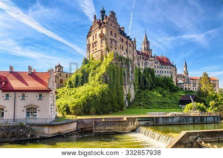 Sigmaringen Castle On Rock, Germany. This Famous Gothic Castle Is Landmark Of Baden-wurttemberg. Sce