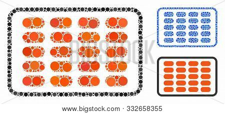 Blister Mosaic Of Round Dots In Different Sizes And Color Tones, Based On Blister Icon. Vector Round