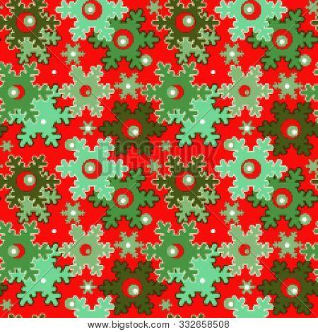 Seamless Pixel Christmas Snowflake Pattern Background  Textile