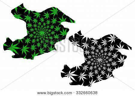 Qazvin Province (provinces Of Iran, Islamic Republic Of Iran, Persia) Map Is Designed Cannabis Leaf