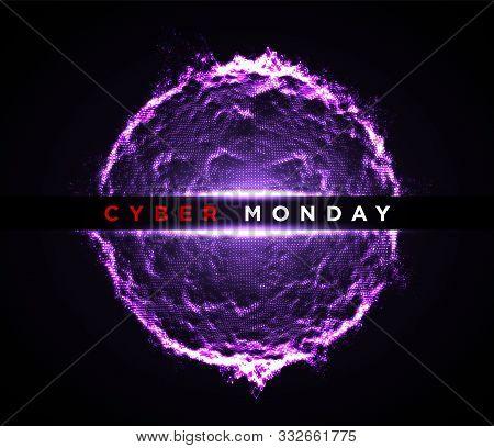 Cyber Monday Digital Sphere Background. Sale Flyer Or Banner Design Template. Vector Illustration Of