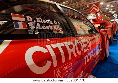 Lyon, France, November 8, 2019 : Citroen Rally Car At The Motorshow. The Salon Epoq Auto Stands In L
