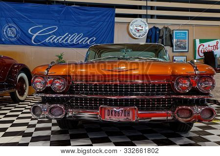 Lyon, France, November 8, 2019 : Cadillac At The Motorshow. The Salon Epoq Auto Stands In Lyon Since