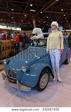 Lyon, France, November 8, 2019 : Old Scene At The Motorshow. The Salon Epoq Auto Stands In Lyon Sinc