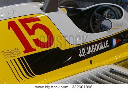Lyon, France, November 8, 2019 : Renault Formula One At The Motorshow. The Salon Epoq Auto Stands In