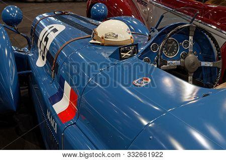 Lyon, France, November 8, 2019 : Delage 1947 Racing Car At The Motorshow. The Salon Epoq Auto Stands