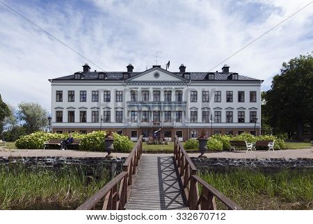 Gysinge Mansion, Sweden On July 07. View Of The Outdoor Exterior Of Gysinge Mansion On July 07, 2019