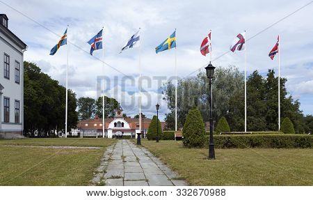 Gysinge Mansion, Sweden On July 07. View Of The Outdoor Exterior Of Gysinge Mansion, Ironworks Build