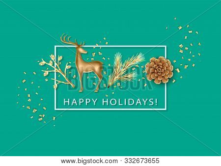Christmas And New Year Holiday Minimalistic Background. Realistic Christmas Decorations, Gold Figuri