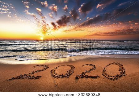 Happy New Year 2020 Is Coming Concept, Ocean Beach Lettering.