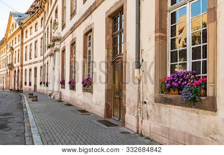 Strasbourg, Bas-rhin / France - 10 August 2019: Old Stone Houses In The Historic City Center Of Stra