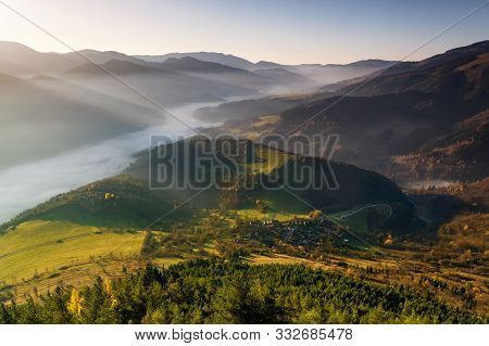 Fall In Slovakia. Meadows And Fields Landscape Near Unesco Monument Reservation Vlkolinec At Sunrise
