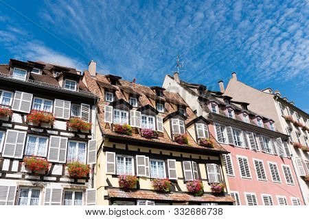 Strasbourg, Bas-rhin / France - 10 August 2019: Historic Old Half-timbered Houses In The Old City Ce