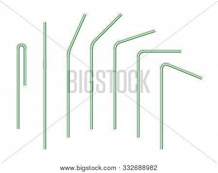 Vector Realistic Drinking Straws Striped For Milk Drinks, Cocktails Or Alcohol. Set Of White-green D
