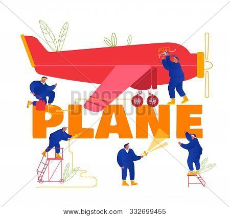 Plane Maintenance And Repair Concept. Group Of Mechanics Engineers Inspecting Private Airplane With
