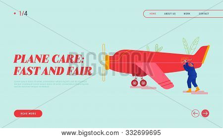 Aviation Engineering Profession Website Landing Page. Service Engineer Repair Vintage Airplane With