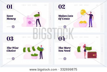 Money Laundering Website Landing Page Set. Business People Washing Banknotes In Machine, Cleaning Co