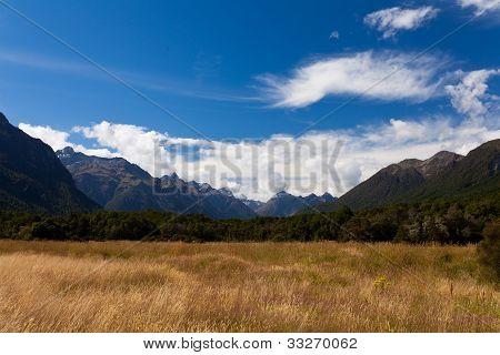 High peaks of Eglinton Valley in Fjordland NP, NZ