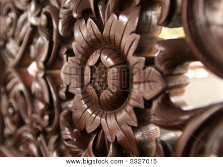 Wood Carving Of Flower Pattern.