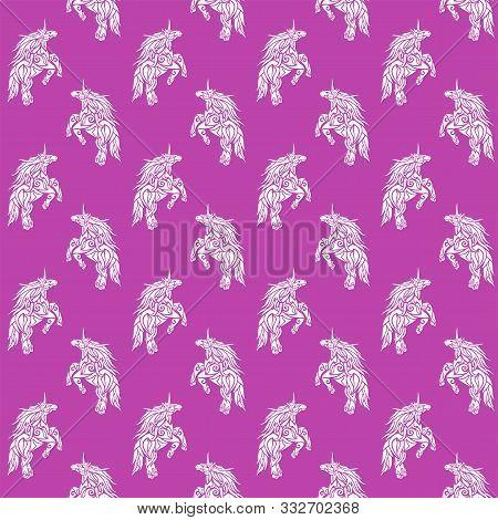 Beautiful Seamless Fantasy Pattern With Stylized White Prancing Unicorn Silhouette On Pink Backgroun