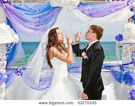newlyweds drink champagne wine