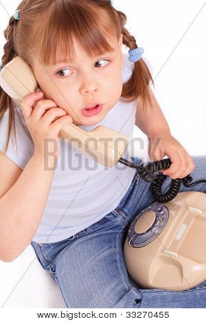 Little Girl Calling The Old Phone