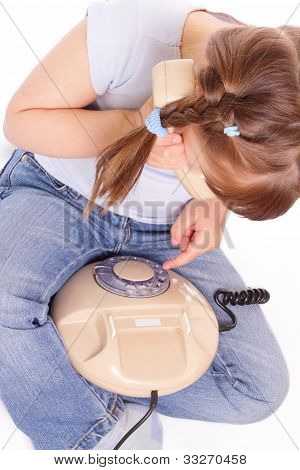 Little Girl Dials The Number On The Old Phone