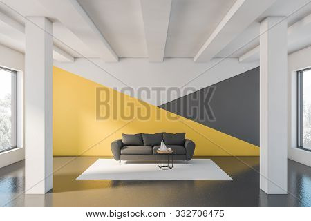 Yellow And White Living Room With Sofa
