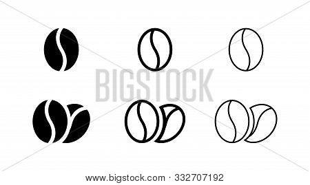 Coffee Bean Icon Isolated On White Background. Line Bean Icon. Morning Coffee Vector. Black Line Gra