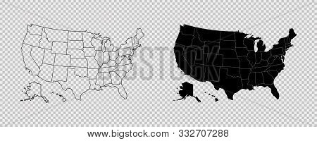 United States Map. High Detailed Usa Map. Linear Icon. Transparent Background. Vector Isolated Eleme