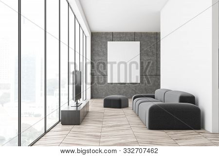White And Concrete Living Room With Tv