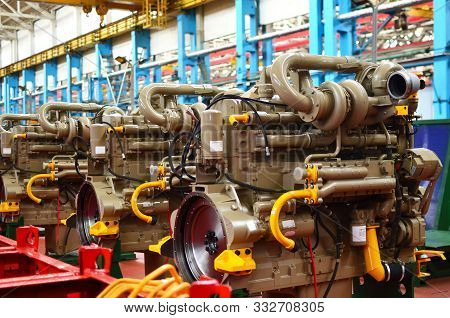 Diesel Engines With Huge Turbines On Assembly Line In The Workshop Of The Factory For The Production