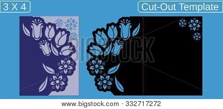 Laser Cut Wedding Invitation Card Template.  Cut Out The Paper Card With Floral Pattern.  Greeting C