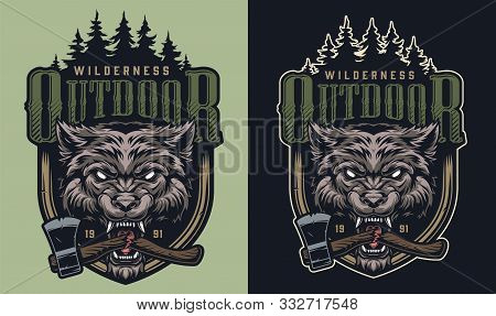 Colorful Wildlife Print With Forest Landscape Ferocious Wolf Head And Broken Ax In Its Mouth In Vint