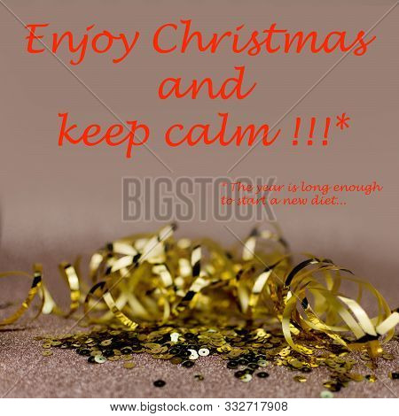 Christmas Greetings Card. Gold Glitter Ribbon And Sequins With Text: