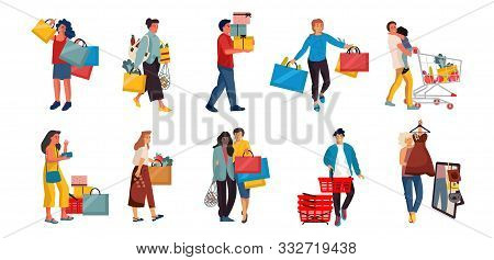 Shopping People. Trendy Cartoon Characters On Retail Store, Happy Buyers At Discount Shop. Vector Il